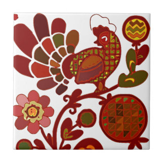 Retro Rooster Orange and Red Print Tile