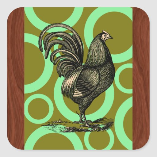Retro Rooster Square Stickers