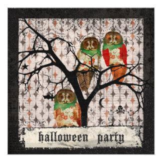 Retro Rose Owls Halloween Invitation