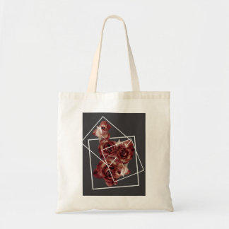 Retro rosebuds in frame tote bag