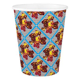 Retro rosebuds in smoky tones paper cup