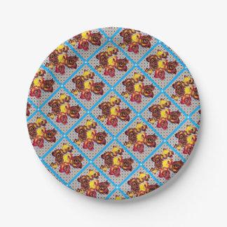 Retro rosebuds paper plate