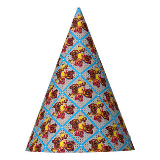 Retro rosebuds party hat