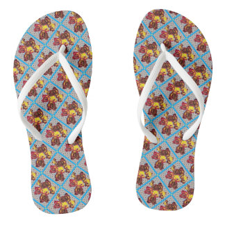 Retro roses on black dots flip flops