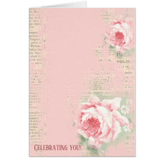 retro roses on newsprint card