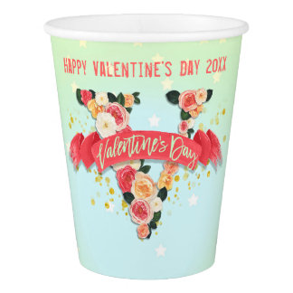 Retro Roses Valentine's Day Paper Cup