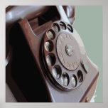 Retro Rotary Dial Phone Vintage Design Poster