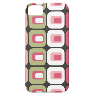 Retro rounded rectangles pink green gray skin iPhone 5 covers