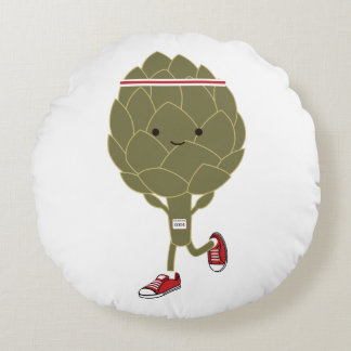 Retro Running Artichoke Round Pillow
