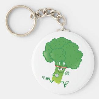 Retro Running Broccoli Basic Round Button Keychain