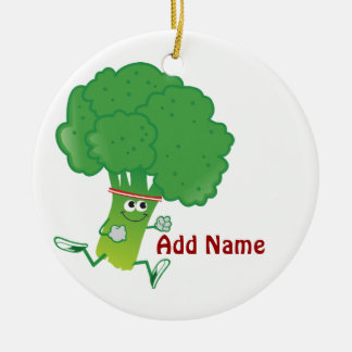 Retro Running Broccoli Round Ceramic Ornament