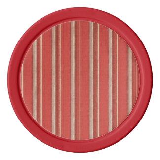 Retro Rust Coral Beige Grunge Primitive Stripe Poker Chips