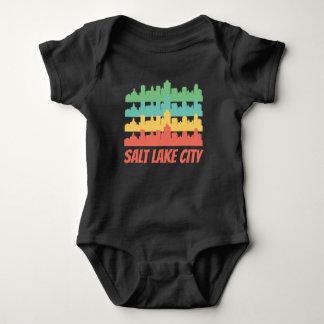 Retro Salt Lake City UT Skyline Pop Art Baby Bodysuit