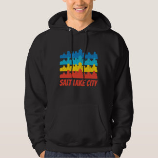 Retro Salt Lake City UT Skyline Pop Art Hoodie