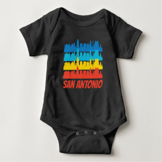 Retro San Antonio TX Skyline Pop Art Baby Bodysuit