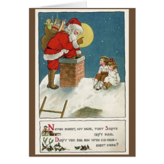 Retro Santa and Children on Chimney Christmas Card