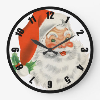 Retro Santa Claus and Holly Clocks