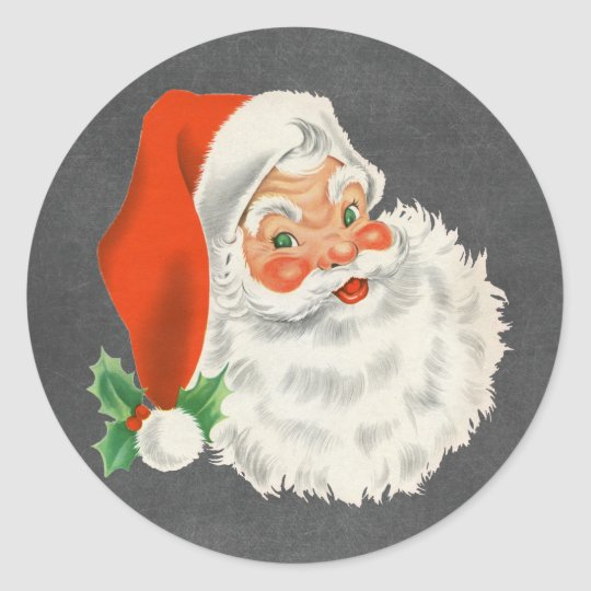 Retro Santa Claus Chalkboard Christmas Stickers