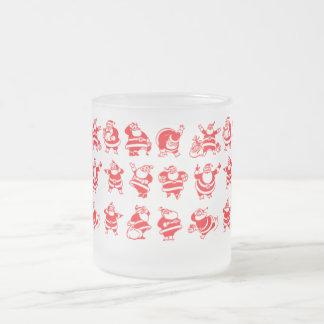 Retro Santas Frosted Glass Coffee Mug