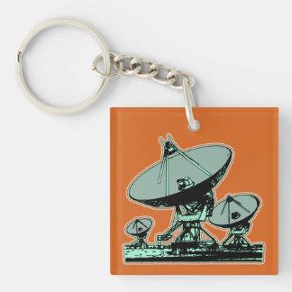 Retro Satellite Dish Graphic Double-Sided Square Acrylic Keychain