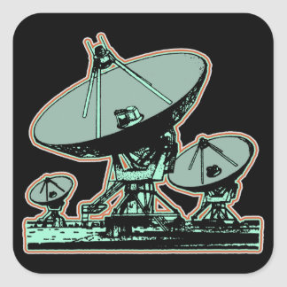 Retro Satellite Dish Graphic Square Sticker