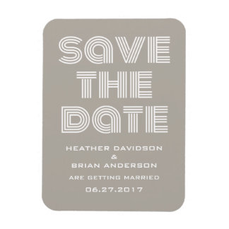 Retro Save the Date Magnet, Beige Magnet