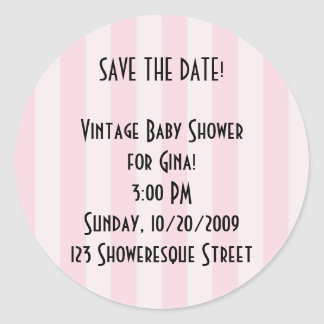 Retro Save the Date! Pink Stripe Stickers