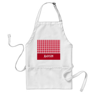 Retro Scarlet Red Gingham; Checkered Apron