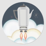 Retro sci-fi coffee pot percolator rocket ship classic round sticker