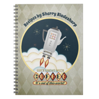 Retro sci-fi coffee pot rocket recipe notebook