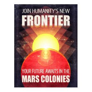Retro Sci-Fi Mars Colonization Postcard