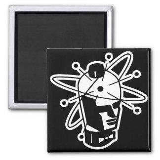 Retro Sci-Fi Robot Head - Black & White Square Magnet
