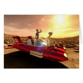 Retro Sci-Fi Sunset on Mars Card