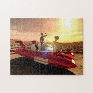 Retro Sci-Fi Sunset on Mars Jigsaw Puzzle