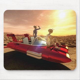 Retro Sci-Fi Sunset on Mars Mouse Pad