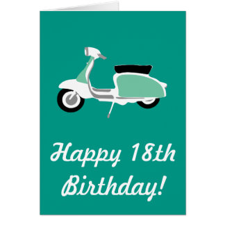 Retro Scooter Happy 18th Birthday Card