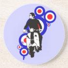 Retro Scooter Rider on Mod Target art Coaster