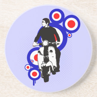 Retro Scooter Rider on Mod Target art Coaster