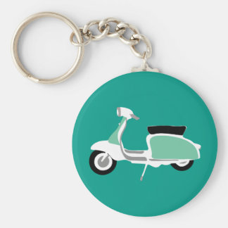 Retro Scooter Round Teal Key Ring Basic Round Button Keychain