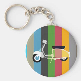 Retro Scooter Striped Round Key Ring Basic Round Button Keychain