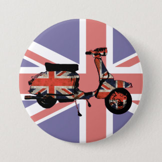 Retro scooter weathered Union jack design 3 Inch Round Button