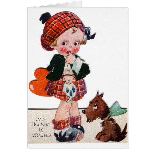 Retro Scottish girl Valentine add message card