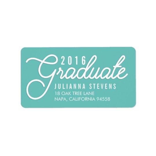 Retro Script Aqua Graduation Return Label