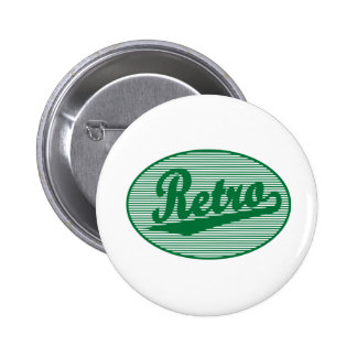 Retro script logo in green 2 inch round button