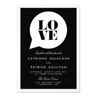 RETRO SCRIPT LOVE SPEECH BUBBLE WEDDING INVITATION