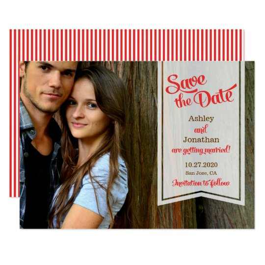 Retro Script & Ribbon Banner Photo Save the Date Card