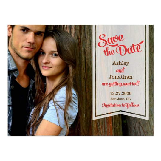 Retro Script & Ribbon Banner Photo Save the Date Postcard