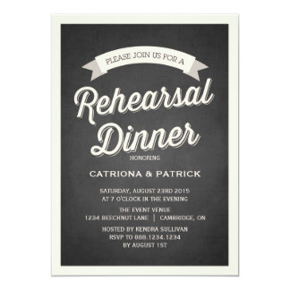 Retro Script Rustic Rehearsal Dinner Invitation