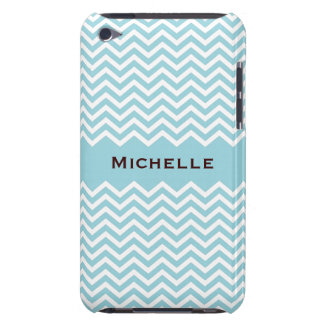 Retro sea blue or aqua chevron pattern iPod case