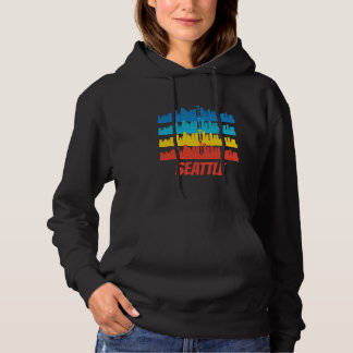 Retro Seattle WA Skyline Pop Art Hoodie